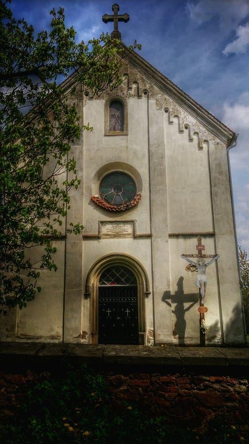 aquarelle de ville d'église photographie stock