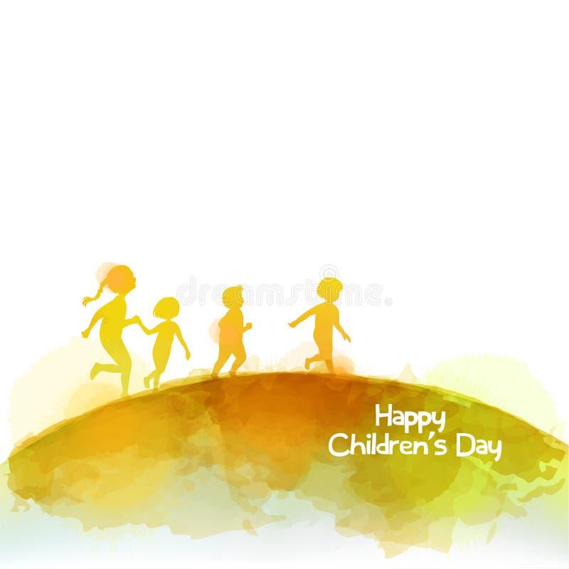 Aquarelle des enfants heureux courant ensemble Jour heureux du ` s d'enfants illustration libre de droits