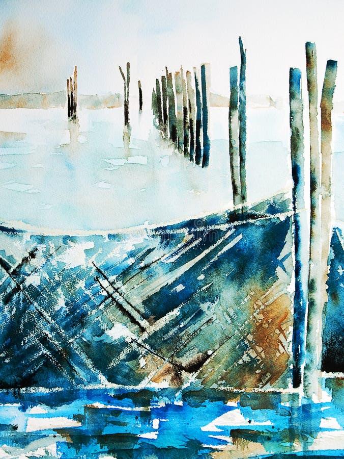 Aquarelle des filets de pêche dans un lac illustration de vecteur