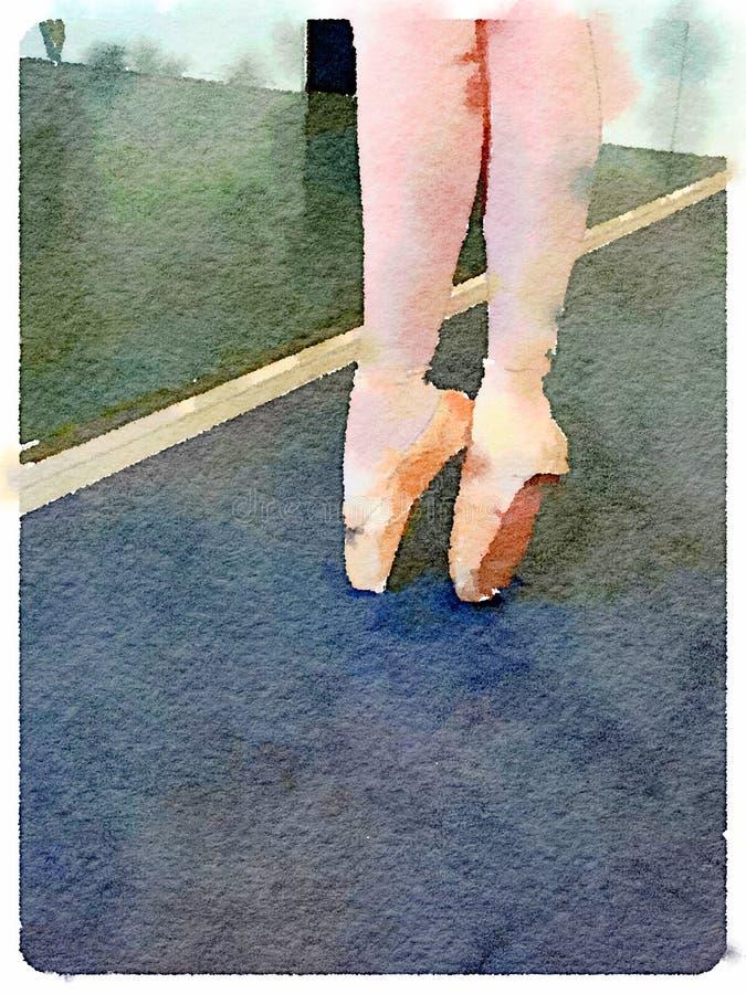 Aquarelle des jambes de la jeune ballerine sur le point dans le studio de danse de ballet photos libres de droits