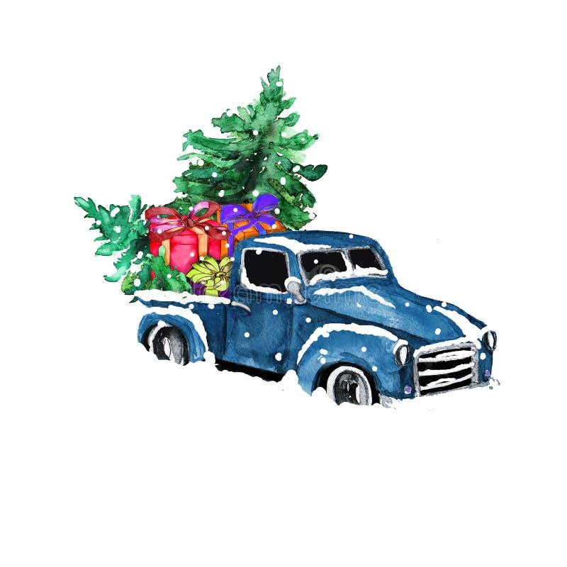 Aquarelle dessinée à la main voiture rétro colorée artistique avec le sapin de Noël et les boîtes cadeaux isolées sur fond blanc photos stock