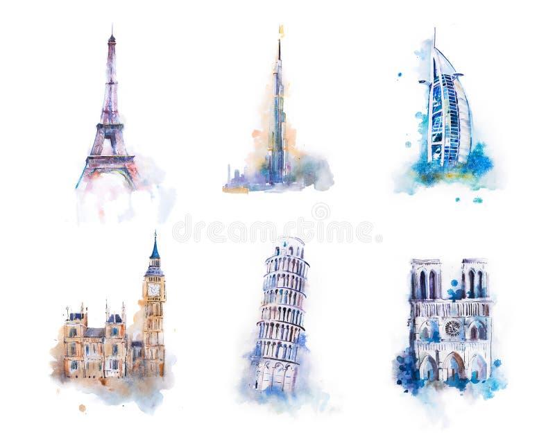 Aquarelle dessinant la plupart des bâtiments célèbres, architecture, vues de différents pays Palais de Westminster, Big Ben illustration de vecteur