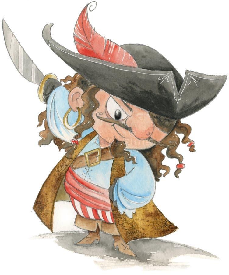 Aquarelle drôle de pirate illustration libre de droits