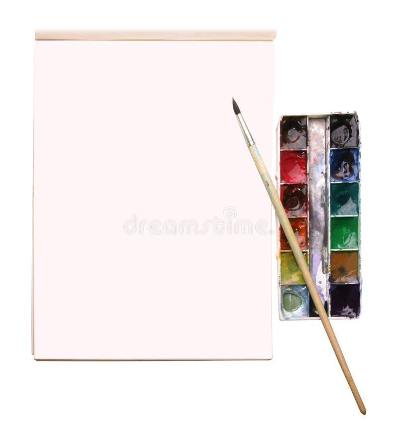 Aquarelle e um álbum do desenho com lugar para o texto foto de stock