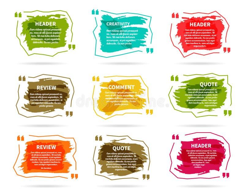 Aquarelle, encre, calibres de blanc de citation d'éclaboussure illustration stock