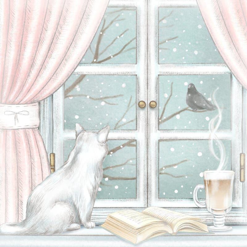 Aquarelle et composition graphique en crayon avec le chat, le café et le livre ouvert sur la fenêtre avec le paysage d'hiver illustration libre de droits