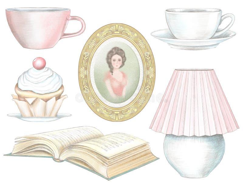 Aquarelle et ensemble graphique de crayon de gâteau, de lampe, de livre, de portrait d'une fille et de deux tasses illustration libre de droits
