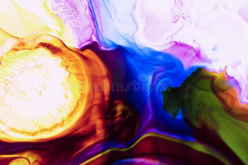 Aquarelle et r?sum? acrylique Fond color? Le m?lange, ?clabousse et des dessins de couleurs : bleu, rouge, vert, jaune, brun, bla image libre de droits