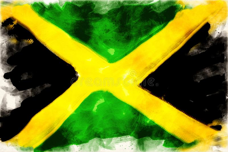Aquarelle of the flag of jamaica. In watercolors vector illustration