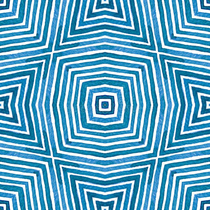 Aquarelle géométrique bleue Configuration sans joint mignonne Rayures tirées par la main Texture de brosse Chevro de satisfaction image stock