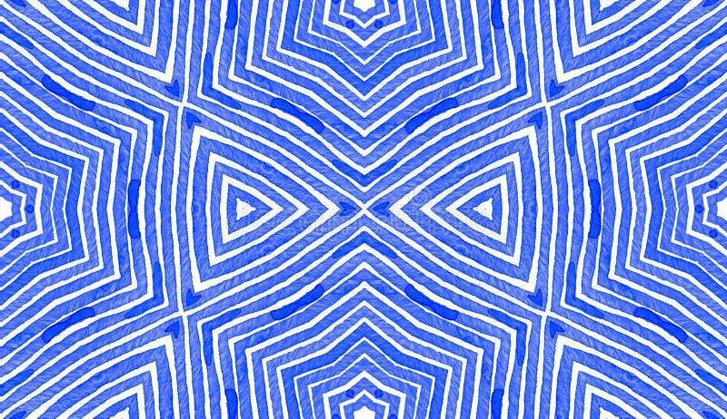 Aquarelle géométrique bleue Configuration sans joint mignonne Rayures tirées par la main Texture de brosse Chevron réel illustration stock
