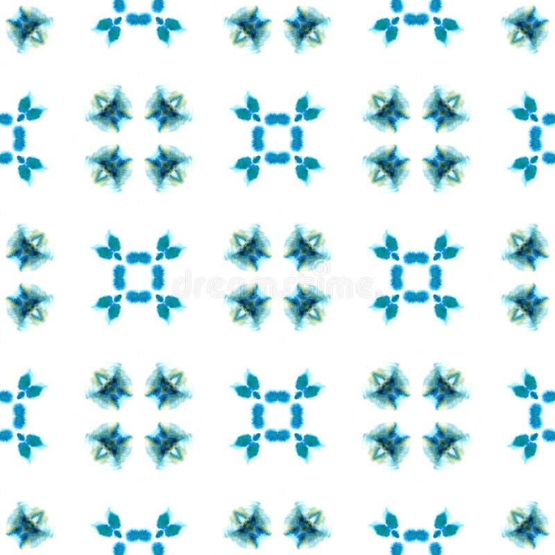 Aquarelle g?om?trique bleue Configuration sans joint Ornement ext?rieur illustration stock