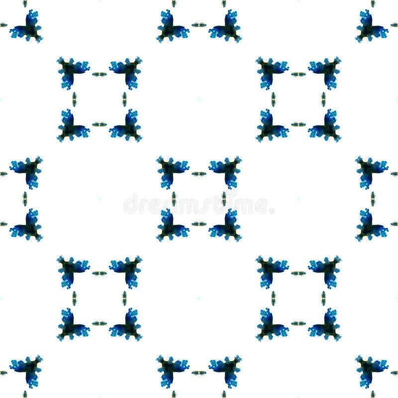 Aquarelle g?om?trique bleue Configuration sans joint Ornement ext?rieur illustration de vecteur