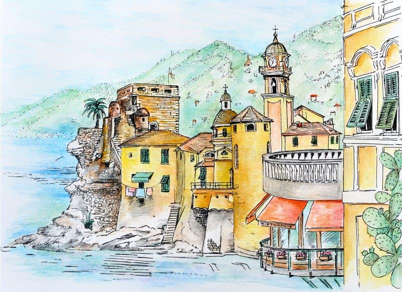 Aquarelle grafische I Camogli royalty-vrije stock foto's
