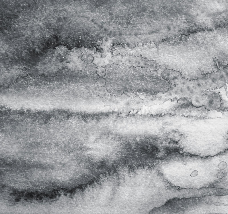 Aquarelle grise abstraite sur la texture de papier comme fond Dans le blac images stock