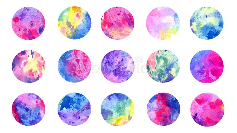 Aquarelle grunge abstraite de cercles colorée toute la palette de couleurs d'arc-en-ciel, ensemble d'isolement illustration stock