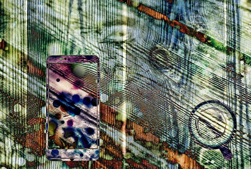 Aquarelle, image, copies, smartphone, tasse de café, abstraction, image stock