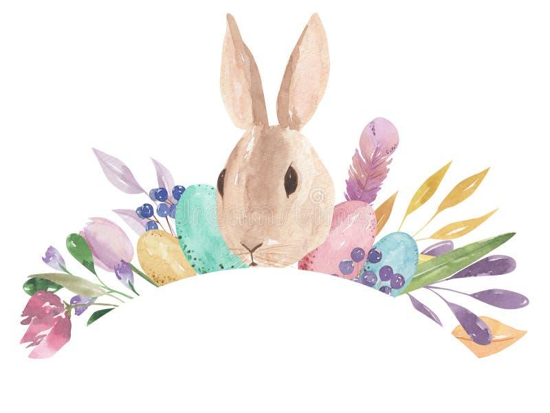 Aquarelle incurvée Bunny Feather Pastel Spring Leaves de rectangle de cadre de voûte d'oeufs de pâques floral illustration de vecteur