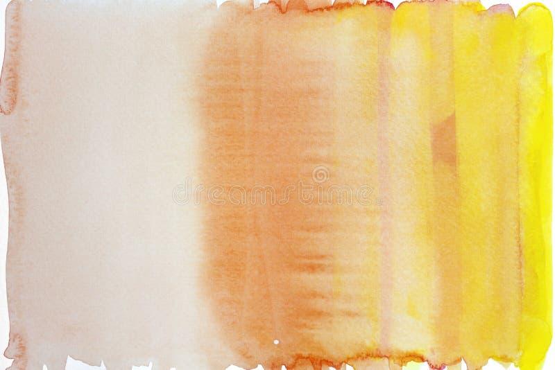 Aquarelle jaune et orange de gradient sur le fond de papier images stock