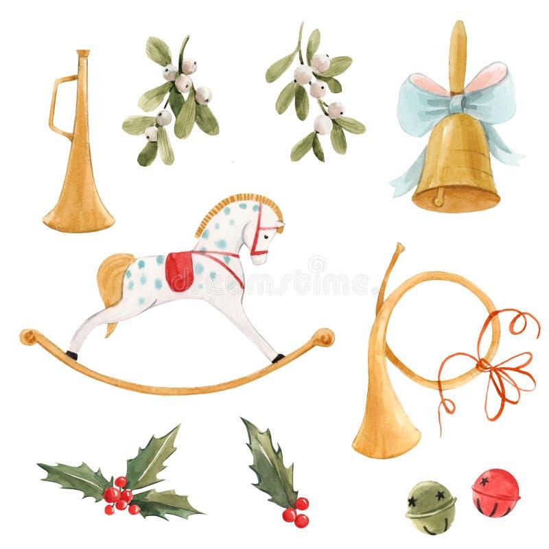 Aquarelle joli Noël ensemble avec bébé cheval rocking cheval sonnette dorée trompette fleurs saintes et baies éléments isolés illustration libre de droits