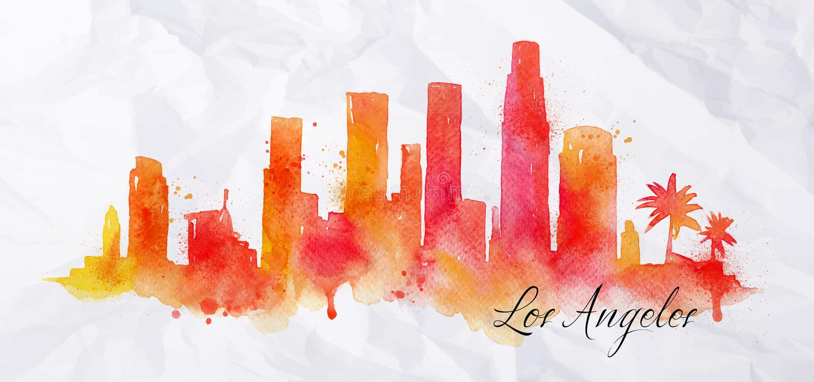 Aquarelle Los Angeles de silhouette illustration libre de droits
