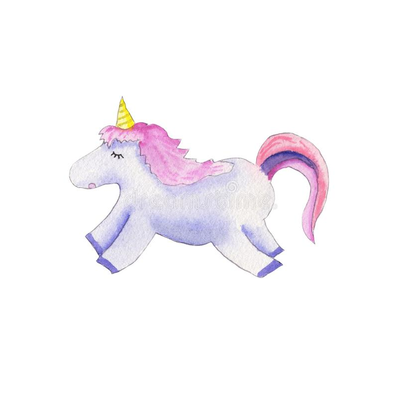 Aquarelle mignonne de licorne illustration libre de droits