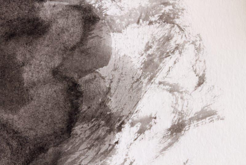 aquarelle noire et blanche fond ou texture peinte CLoseup images stock