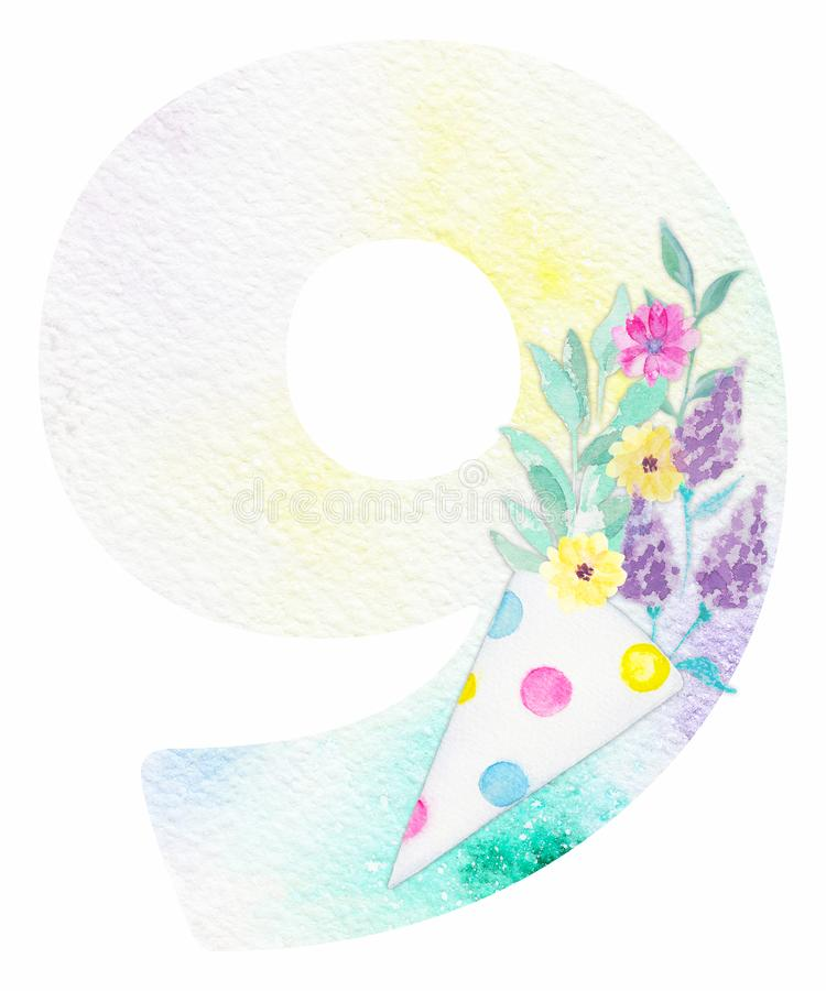 Aquarelle numéro 9 illustration stock
