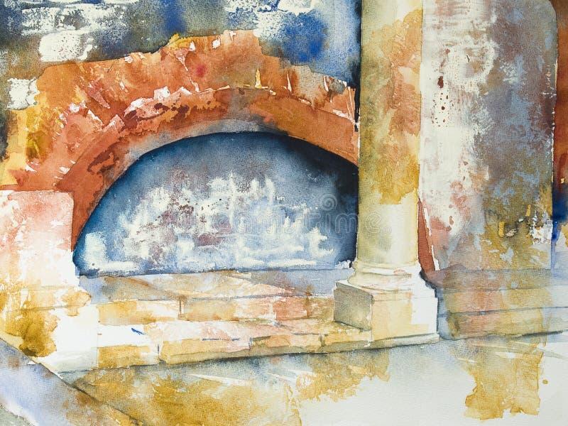 Aquarelle ou aquarel d'un bain romain illustration de vecteur