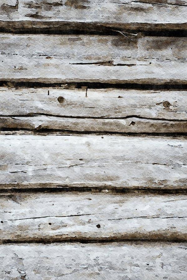 Aquarelle peignant le fond grunge de vacances de vieilles planches en bois photo libre de droits