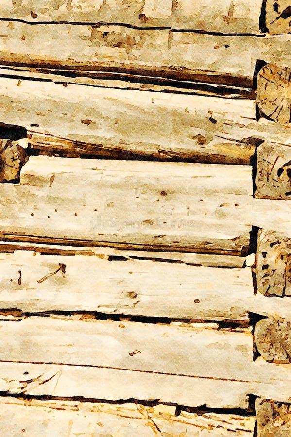 Aquarelle peignant le fond grunge de vacances de vieilles planches en bois photographie stock