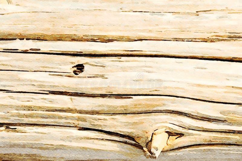 Aquarelle peignant le fond grunge de vacances de vieilles planches en bois images libres de droits