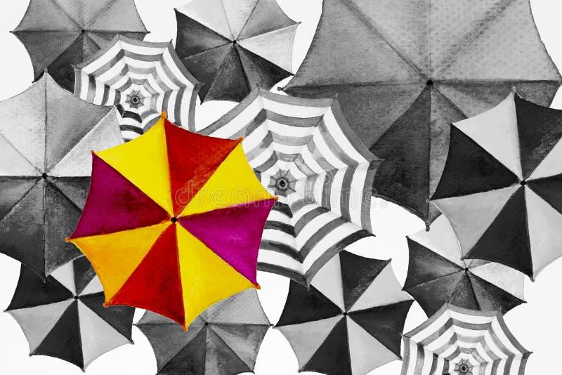 Aquarelle peignant le parapluie coloré illustration libre de droits