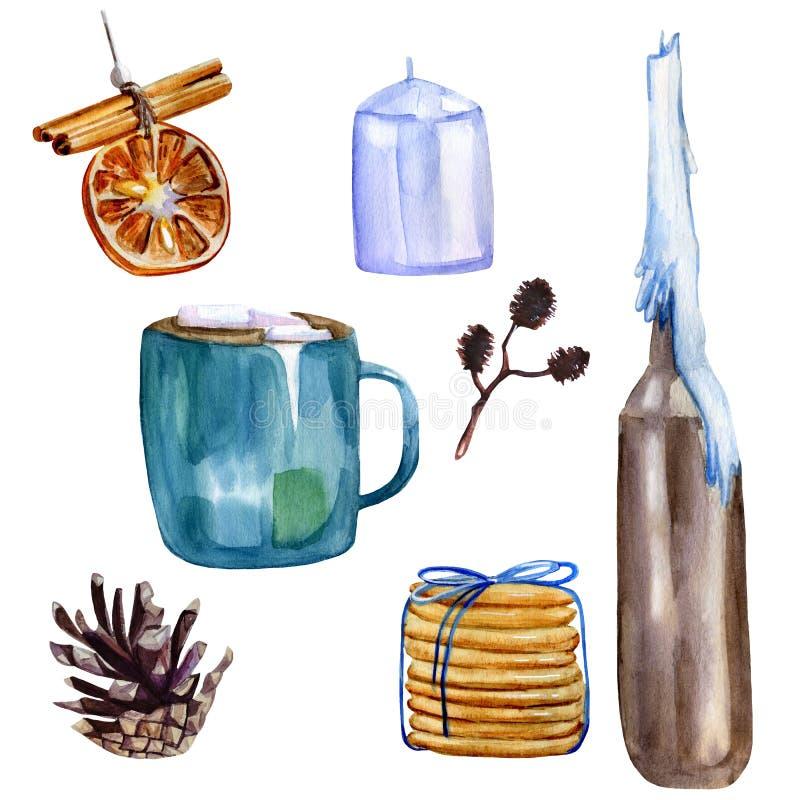 Aquarelle peinte à la main, ensemble d'hiver cosy incluant décoration d'arbre de Noël, tasse avec cacao et marshmallows, bougie b illustration de vecteur