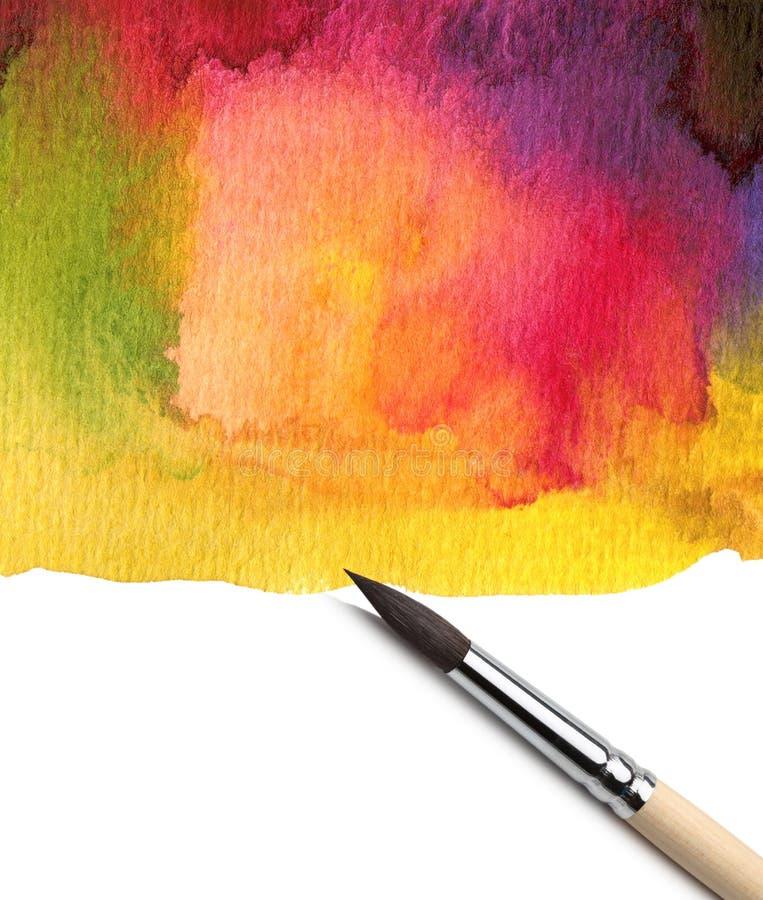 Aquarelle peinte avec le balai photo libre de droits
