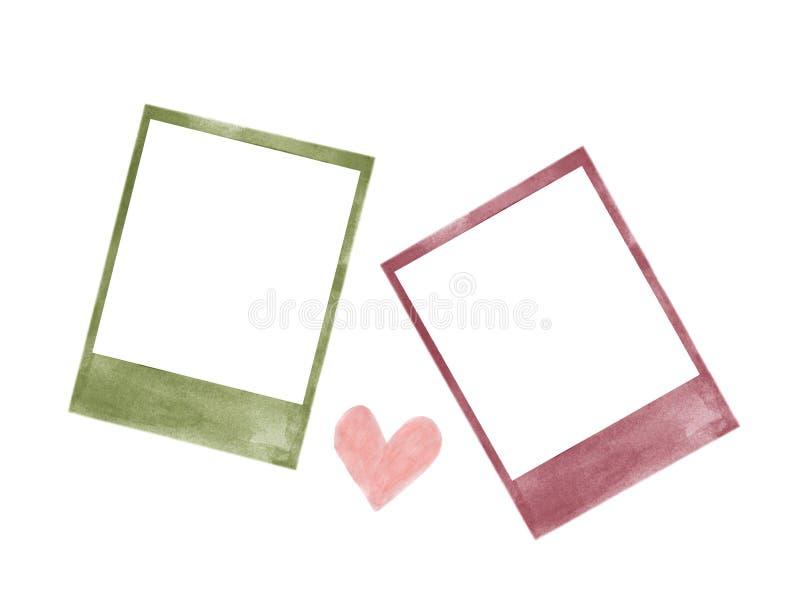 Aquarelle polaroïd de cadres de photo d'isolement sur le blanc illustration stock