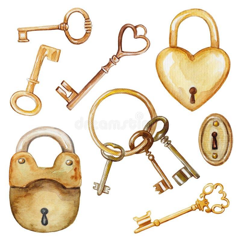 Aquarelle réglée avec des clés et des serrures de vintage illustration libre de droits