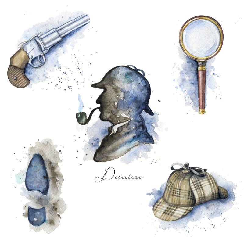 Aquarelle réglée avec des objets de Sherlock Holmes illustration stock