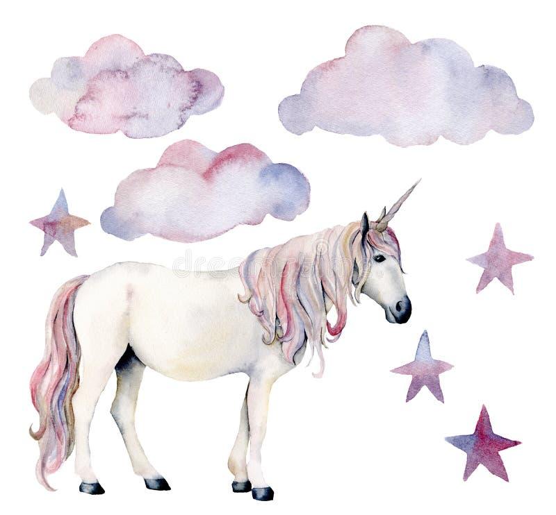 Aquarelle réglée avec la licorne et le décor blancs Cheval, nuages peints à la main et étoiles magiques d'isolement sur le fond b illustration libre de droits