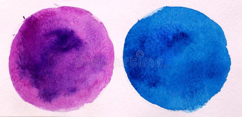 Aquarelle ronde bleue et pourpre d'abrégé sur cercle sur le backgr blanc photographie stock libre de droits