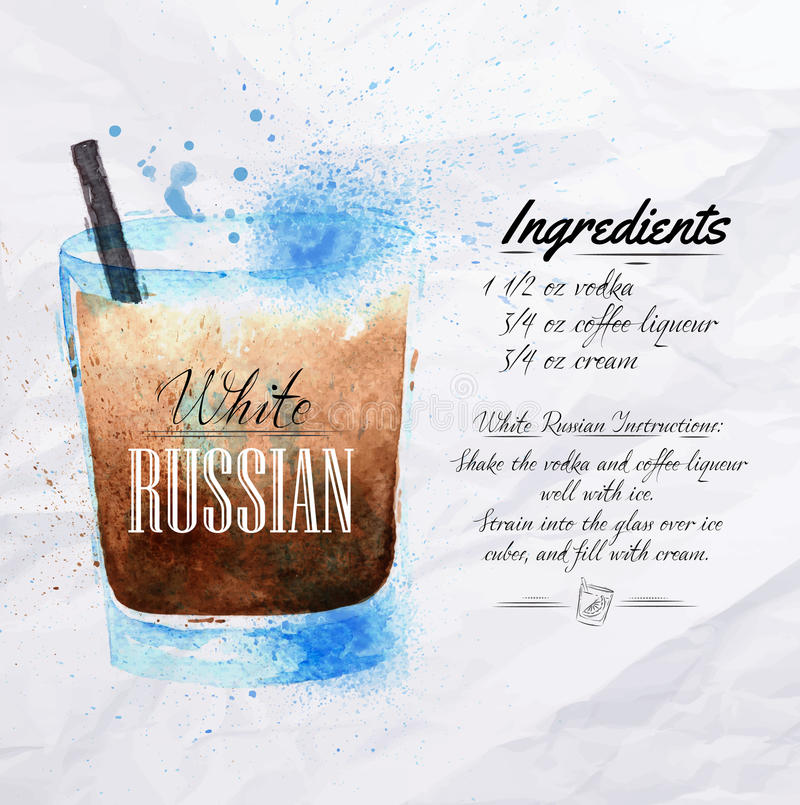Aquarelle russe blanche de cocktails illustration stock