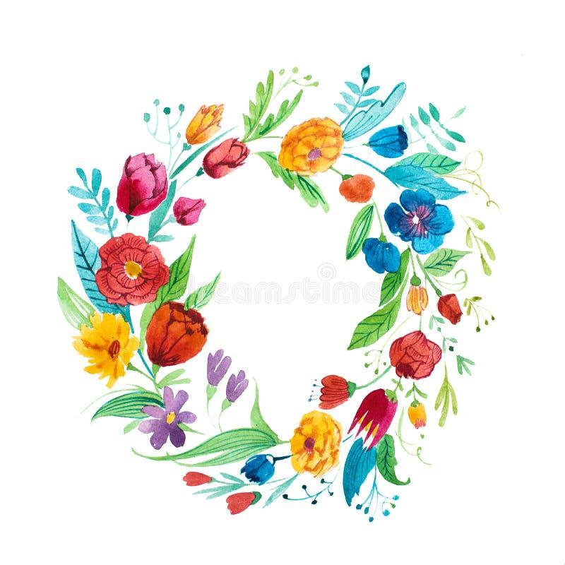 Aquarelle rysunek jaskrawy nieociosany coronet ogród kwitnie pociągany ręcznie ilustracji