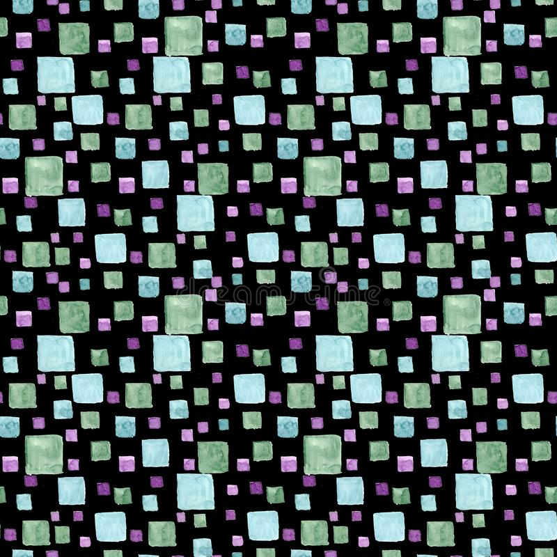 Aquarelle sans couture de modèle avec des rectangles et des places lumineux Couleurs à la mode vertes et bleues Texture d'aspirat illustration de vecteur