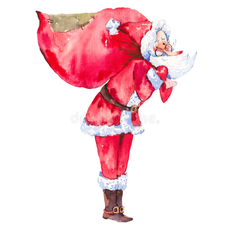 Aquarelle Santa Claus avec le sac énorme illustration stock