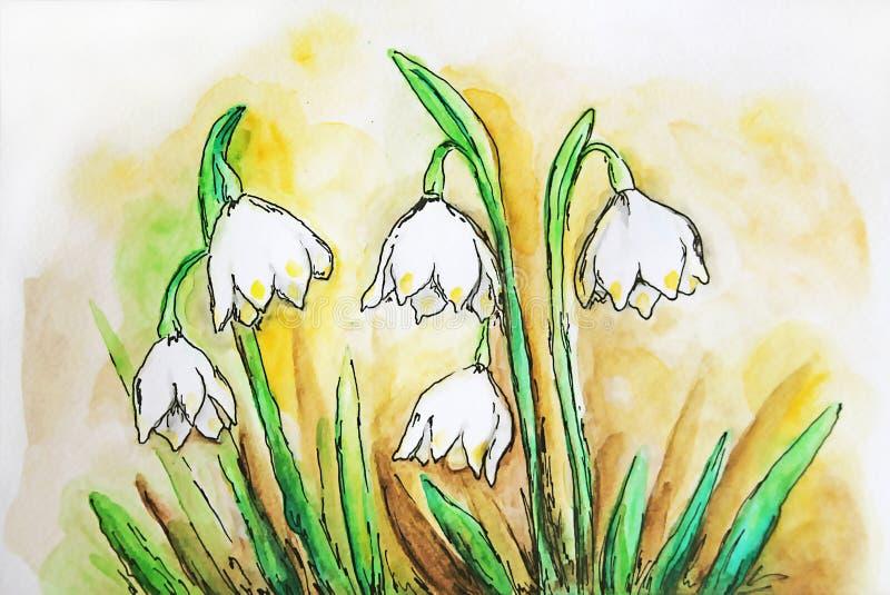 Download Aquarelle snowflake bells stock illustration. Illustration of theme - 72248881