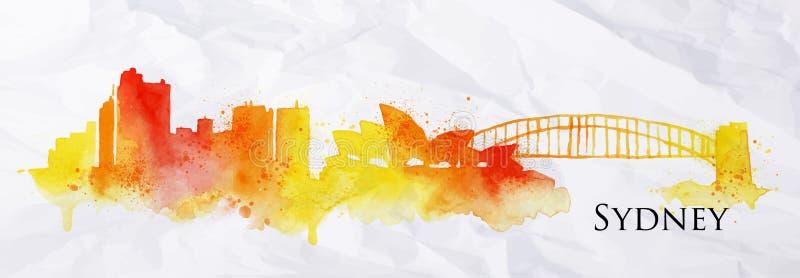 Aquarelle Sydney de silhouette illustration libre de droits