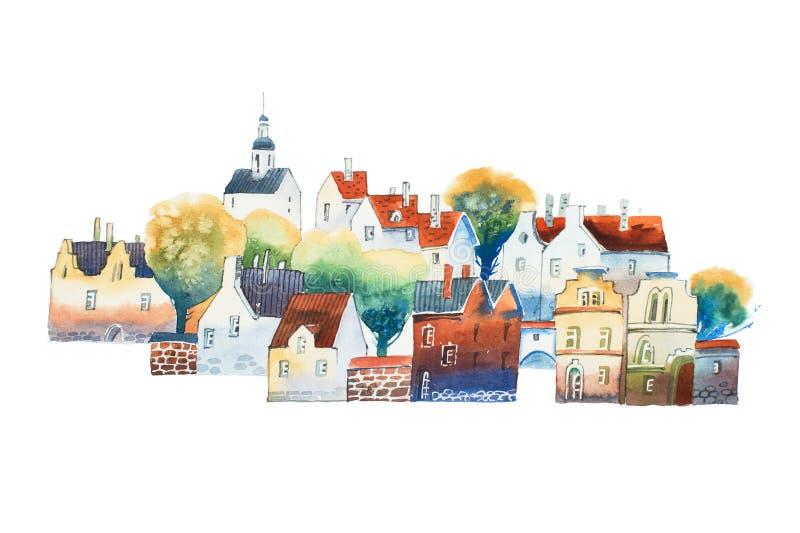 Aquarelle tekening in kleur van oud Europees stadscentrum met traditionele huizen in de zomer royalty-vrije illustratie