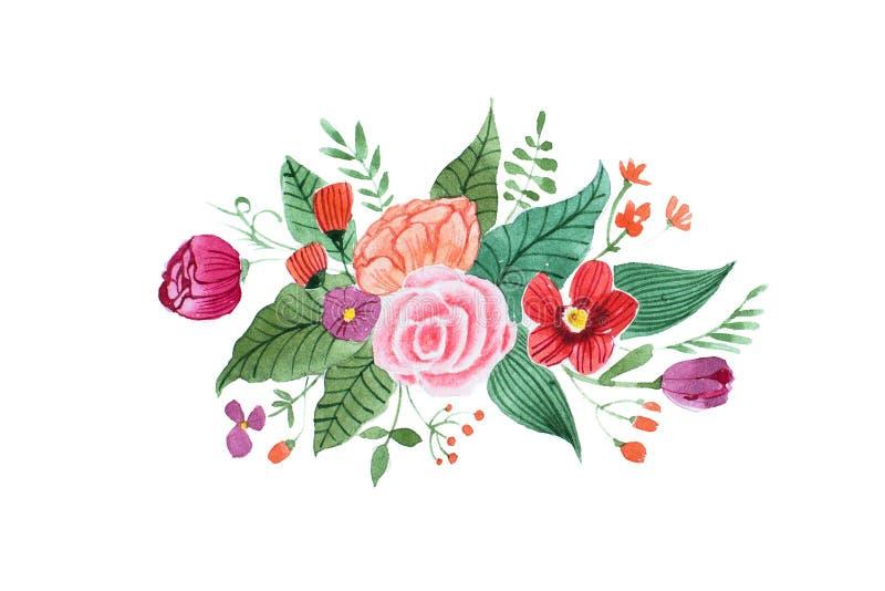 Aquarelle tekening van mooi weinig die boeket van diverse rode, purpere en roze die bloemen en bladeren wordt gemaakt op wit word stock illustratie