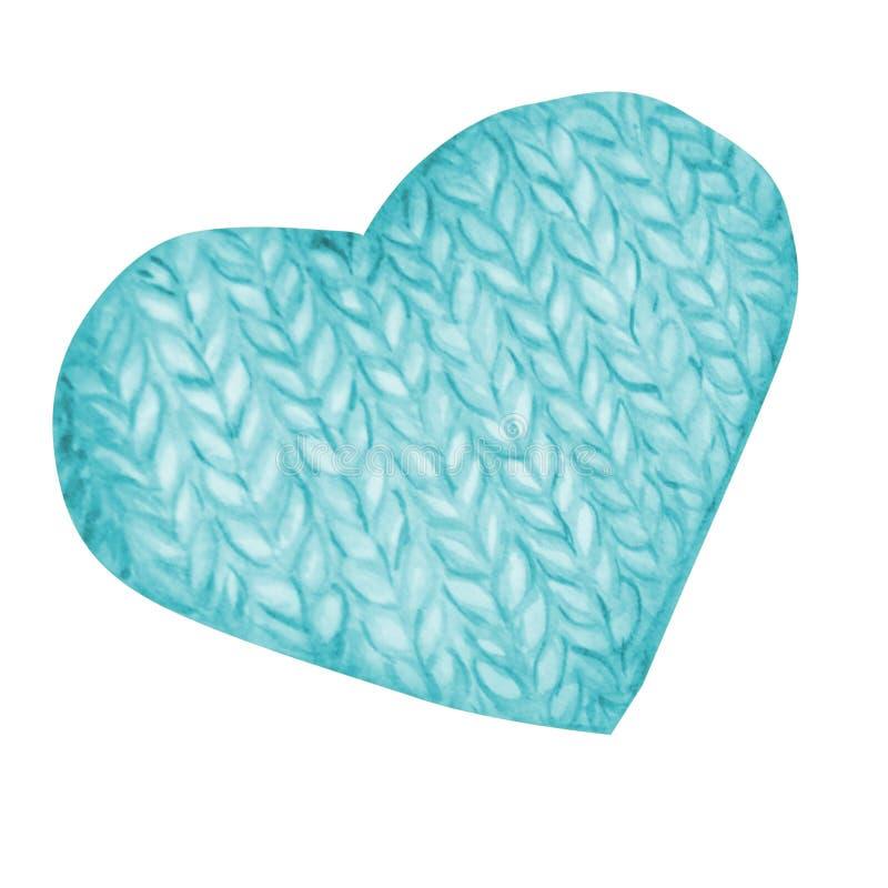 Aquarelle tricotant et faisant du crochet, coeur de laine Coeur tricoté tiré par la main illustration libre de droits