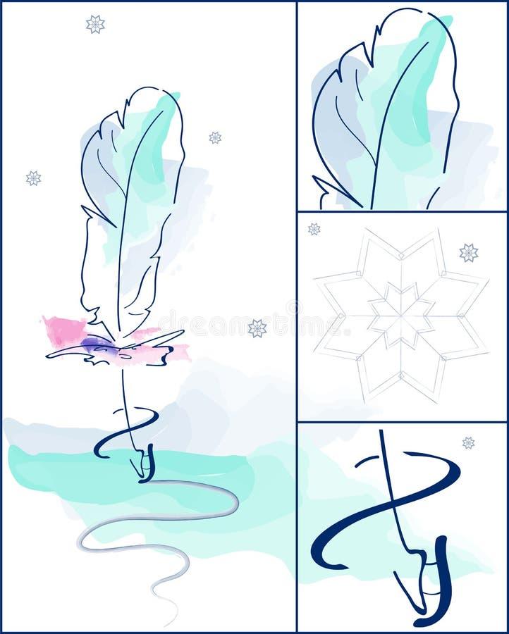 Aquarelle veerkunst met abstracte ijs het schaatsen reeks De wintersneeuwvlok en blauwe rode veervleet Mooie, schitterende achter royalty-vrije illustratie